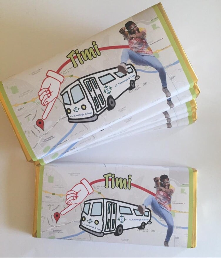 Timi for JJ Kavanagh Large Chocolate Bars