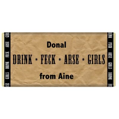 Drink, Arse,Feck, Fr Ted, Personalised, Chocolate Bar