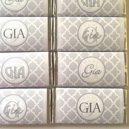 Pack of 10. Grey Pattern Mix Christening Chocolate Bars
