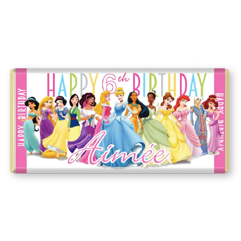 Disney Princess Personalised Chocolate Bar