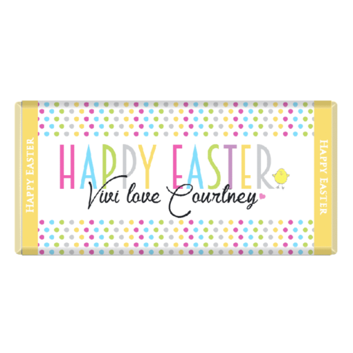 Personalised Easter Spotty Design Chocolate Bar