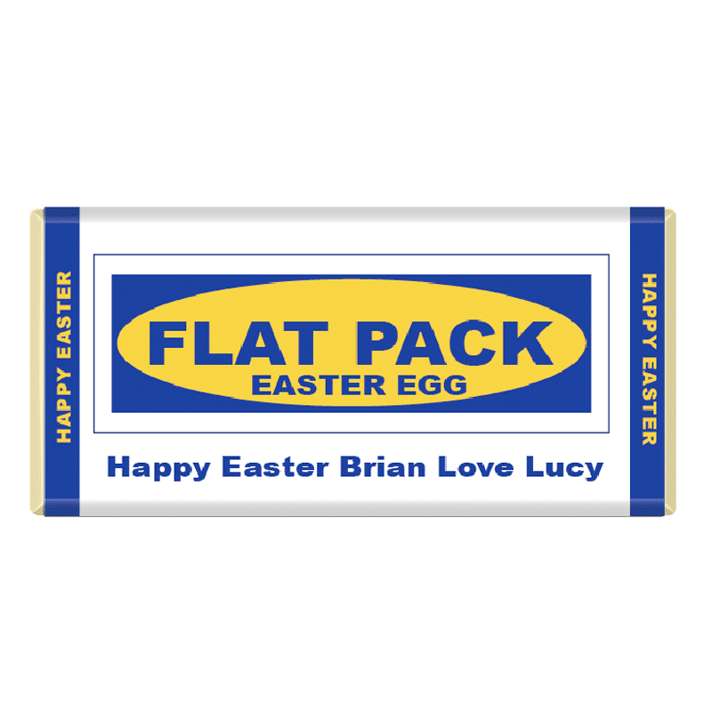 Flat Pack Easter Egg Personalised Chocolate Bar