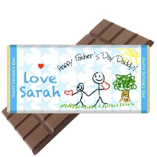 Child's Drawing Fathers Day Chocolate Bar Personalised