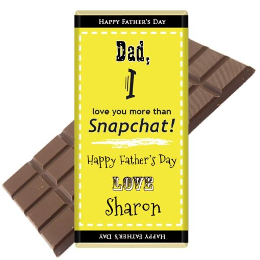 Dad, I love you more than Snapchat Personalised Chocolate Bar