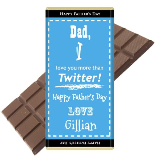 Dad I love you more than Twitter Personalised Chocolate Bar