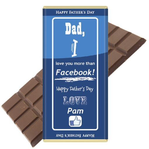 Dad I love you more than Facebook Personalised Chocolate Bar