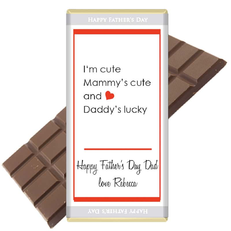 Mammy's cute Daddys lucky Chocolate Bar Fathers Day