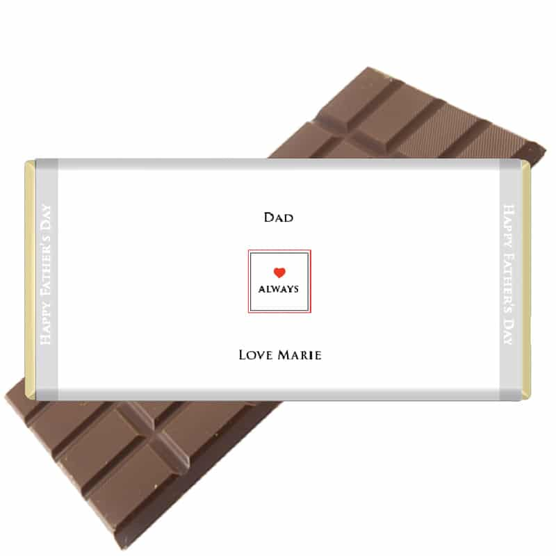 Love always personalised fathers day chocolate bar
