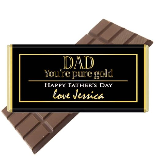 Dad, you're pure gold Fathers Day Chocolate Bar