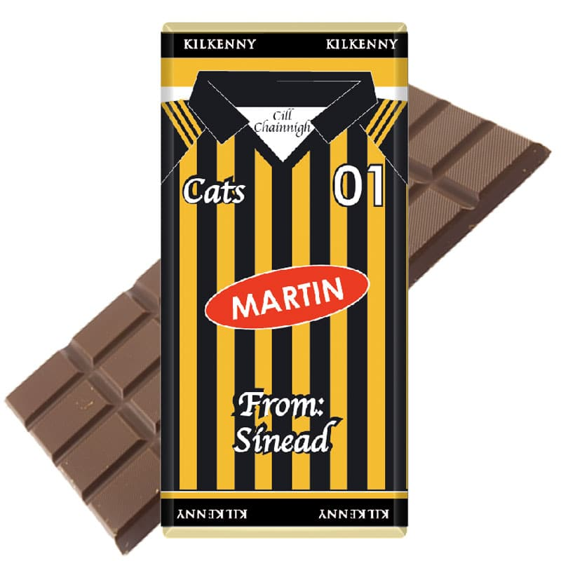 Large Kilkenny Jersey Chocolate Bar Personalised
