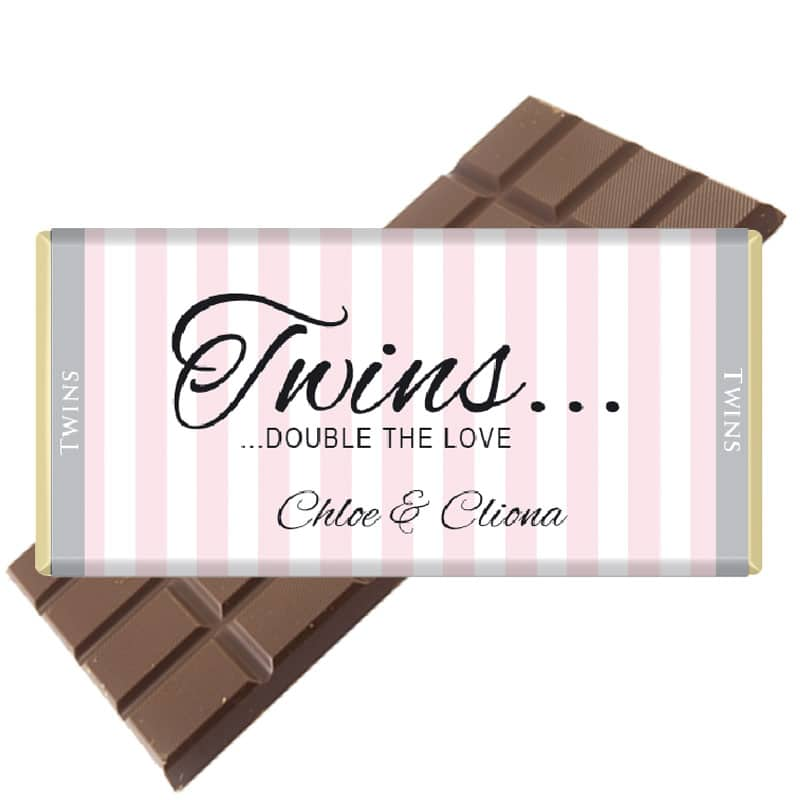 Twins Personalised Chocolate Bar Pink