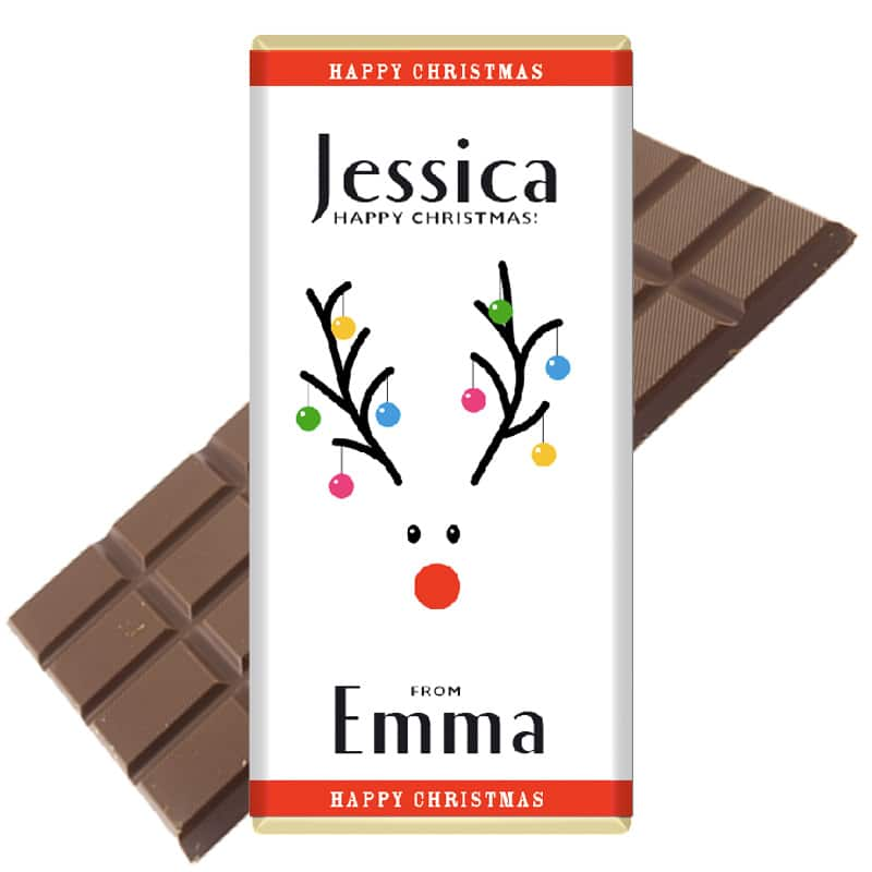 Bauble Reindeer Personalised Christmas Chocolate Bar