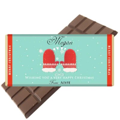 Christmas Gloves Personalised Chocolate Bar