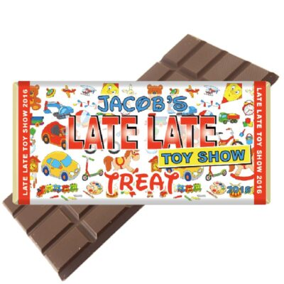 late late toy show personalised chocolate bar