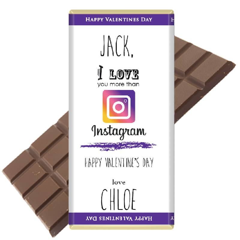 I love you more than Instagram personalised chocolate Bar