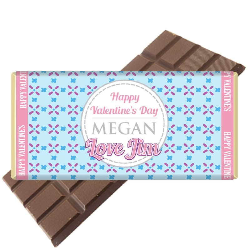 Blue pattern personalised valentines day chocolate bar