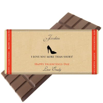 I love you more than shoes chocolate bar