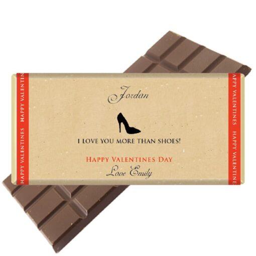 I love you more than shoes chocolate bar
