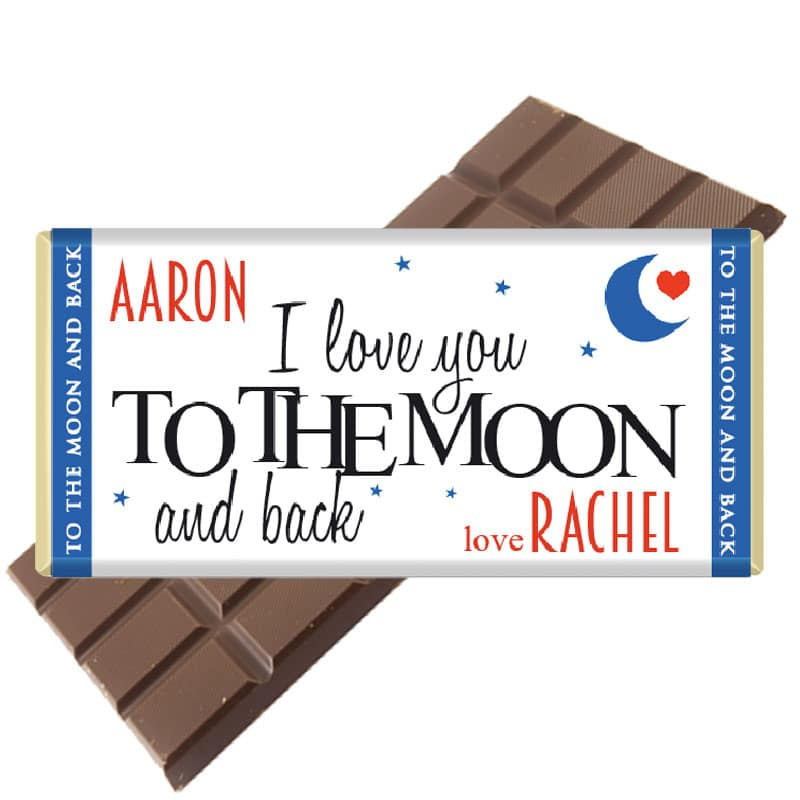 Love you to the moon and back personalised chocolate bar