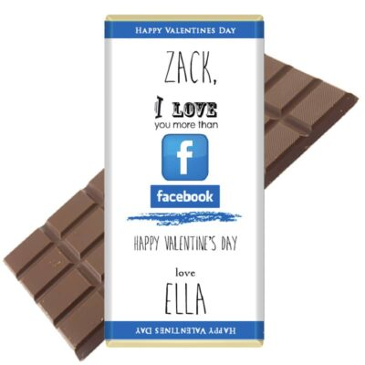 I love you more than facebook personalised chocolate bar