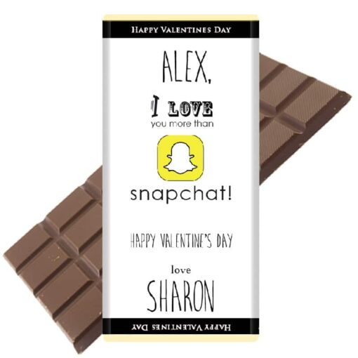 i love you more than snapchat chocolate bar