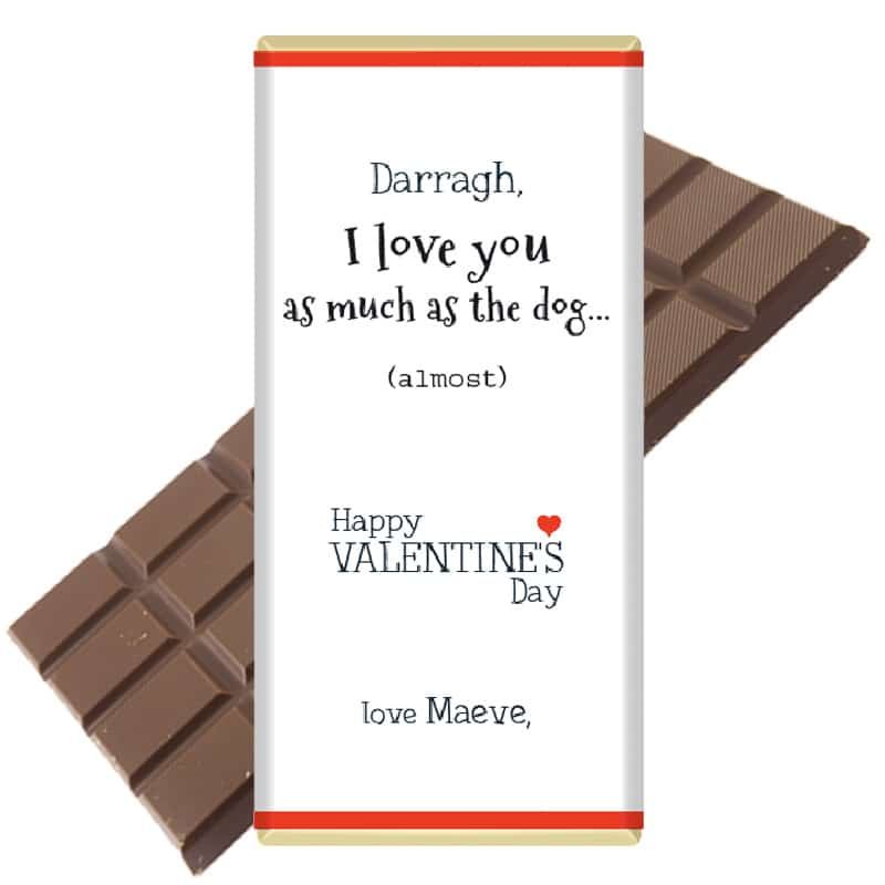 Love-you-as-much-dog-personalised chocolate