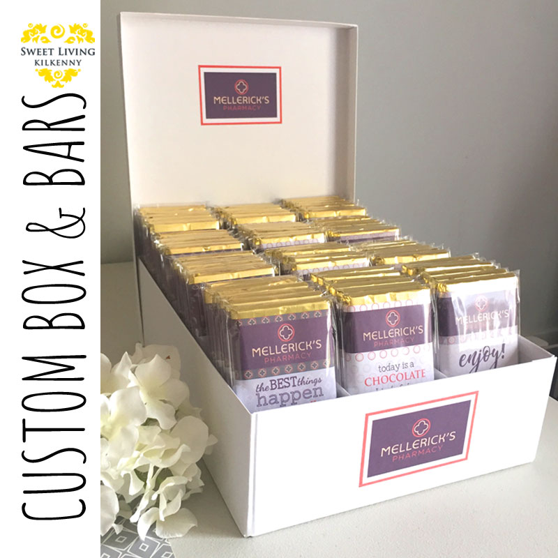 custom chocolate bars and display
