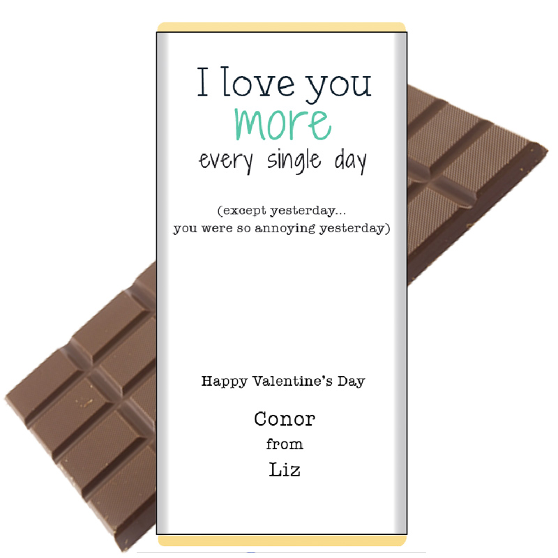 love you more personalised chocolate