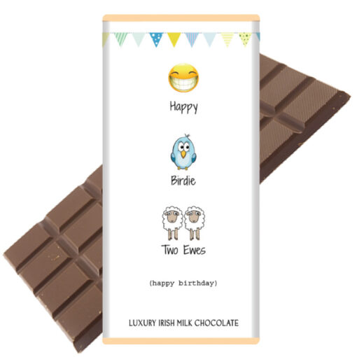 Happy Birdie two ewes chocolate bar