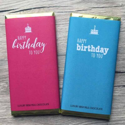 Happy Birthday pink blue non personalised chocolate Bar