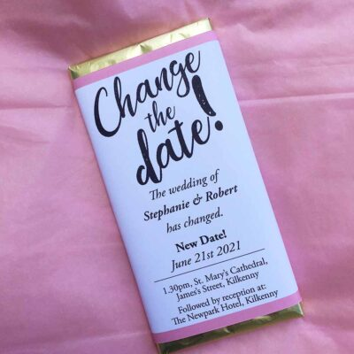 Change the date wedding chocolate bar Covid19
