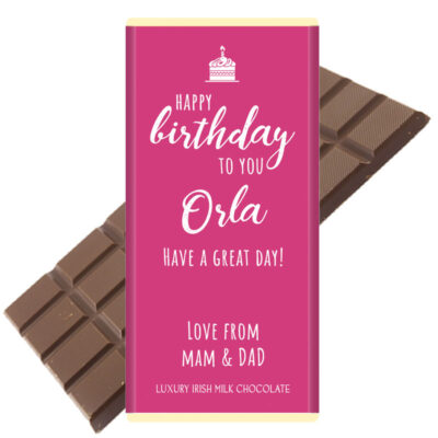 Happy Birthday Pink Personalised Chocolate bar