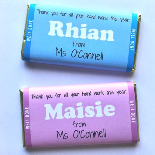 Single small personalised chocolate bar