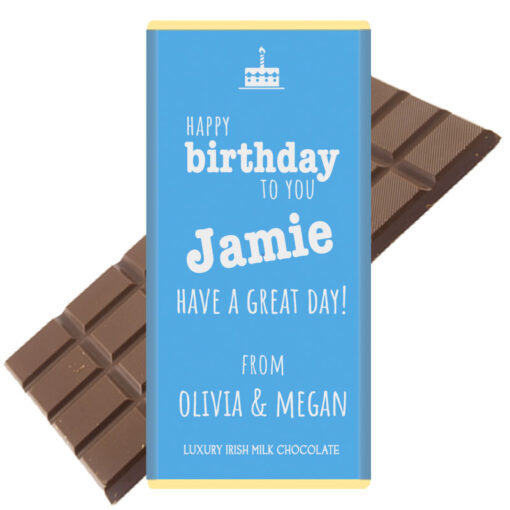 Happy Birthday BLUE Personalised Chocolate Bar
