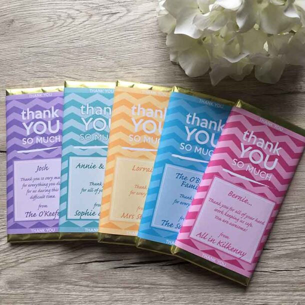 Thank you 5 colours personalised chocolate bar